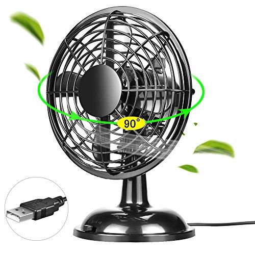 OTraki Tischventilator USB Ventilator Oszillierend 4 Zoll Swing Sehr Klein Lüfter Neigbar Tischventilator Leise 2 Geschwindigkeitsmodi Pioting Desk Lüfter 5V USB Powered Mini Fan