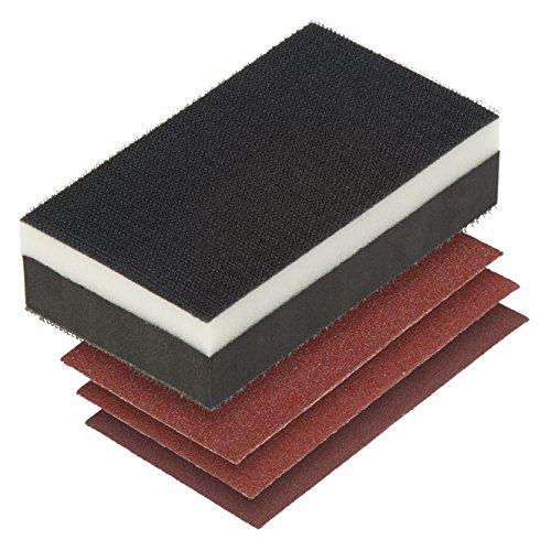 Wolfcraft 2892000 Set lijado manual 2 en 1, bloque y 3 lijas, negro