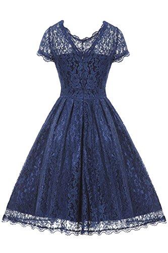 Gigileer Elegant Damen Kleider Spitzenkleid Cocktailkleid Knielanges Vintage 50er Jahr hochzeit Party blaue M - 2