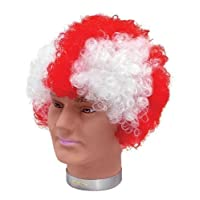 St Georges Cross England Afro Wig Red White Football St Georges Day Fancy Dress by Home & Leisure Online (Fancy Dress)