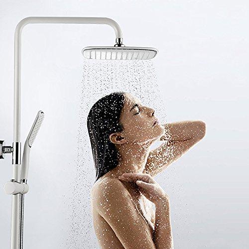 Homelody – Duschsystem mit Einhebelmischer inkl. Brausestange und Brausegarnitur, Weiß - 4