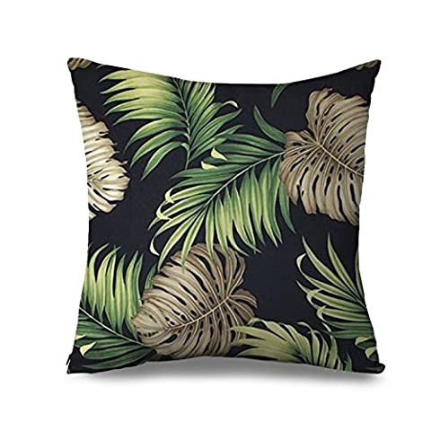 Palm Tree Pillow Case Black Background Tropical Summer Swaying Palms Canvas Accent Throw Pillow Cover 18 x 18 Inch Square Zippered Pillowcase for