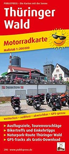 Thüringer Wald: Motorradkarte mit Tourenvorschlägen, GPS-Tracks als Gratis-Download, Ausflugszielen, Einkehr- & Freizeittipps, wetterfest, reissfest, ... GPS-genau. 1:200000 (Motorradkarte / MK)
