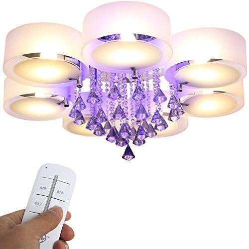 Yorbay LED Kristall Deckenleuchte Deckenlampe E27, RBP Licht mit Fernbedienung für Wohnzimmer, Esszimmer (7-flammig)