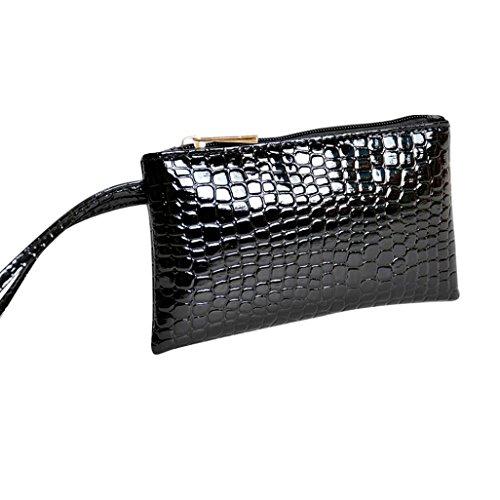 Portafoglio donna, donna coccodrillo in pelle borsetta pochette borsa moneta portafoglio in pelle con protezione rfid wristlet borsetta custodia morwind (nero)