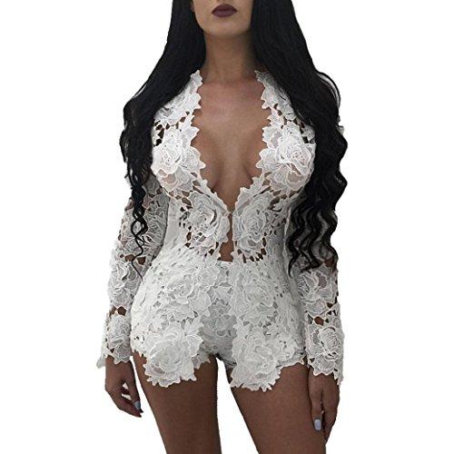 Vovotrade® Damen Sexy Open Front Lace Mantel Shorts Blazer Anzug Zwei Stück Outfits (M, Weiß) (Weiß Damen Anzug 2 Stück)