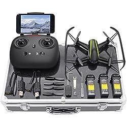 Potensic Drone U36W con Maleta Telecamera WiFi FPV 2.4Ghz, Drone con Control Remoto Función de Estabilización Altitud, Alarma de Fuera Límite de Vuelo con SD Tarjeta 4G