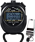 Appex Digital LCD Display Sport Stopwatch with Stainless Steel Referee Whistle (Timer, Clock Alarm, Chronograph, Calendar Functions with Lanyard)