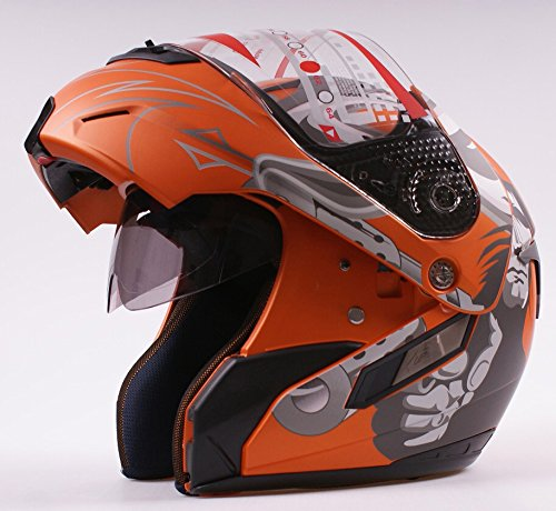 Dual Schild orange matt Jet Flip Front Up Motorrad Scooter Full/Open Face Helm
