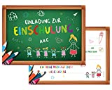 BE UNICORN | 12er Set Einladungskarten zur Einschulung | Schulanfang | Schulbeginn 1. Tag | Mädchen, Jungen | Schuleinführung | DIN A6 Querformat