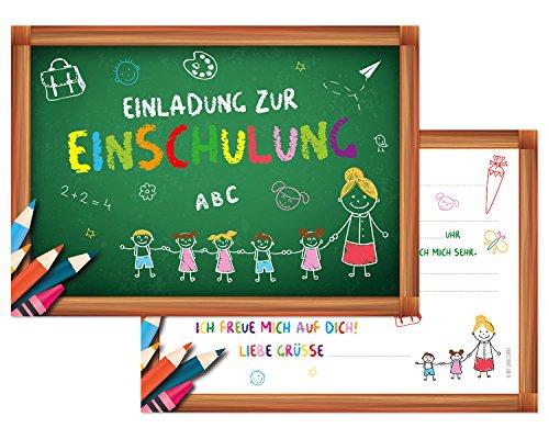 Preisvergleich Produktbild BE UNICORN | 12er Set Einladungskarten zur Einschulung | Schulanfang | Schulbeginn 1. Tag | Mädchen, Jungen | Schuleinführung | DIN A6 Querformat