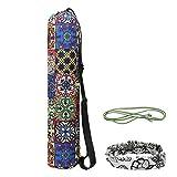 Vathery Yoga Mat Bag, Tappetino Yoga Tela Archiviazione Borsa con Cerniera Tasca Piccola e Yoga Fascia per Capelli, Sportivo Tappetino Borse da Trasporto per Casa Palestra Campeggio (Stile 3)
