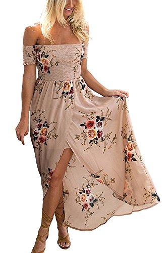 Xxl Maxi Kleider Größe (Yieune Sommerkleider Damen Blumen Maxi Kleid Off Shoulder Abendkleid Strandkleid Party Schulter Kleider)
