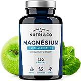 Magnesium Végétal plus Vit B6 B5 B8   Malate et Bisglycinate de Magnésium   120 Gélules de 506mg 100% Bio-disponibles et Non Laxatives   Fabriqué en France par Nutri&Co ® (1)