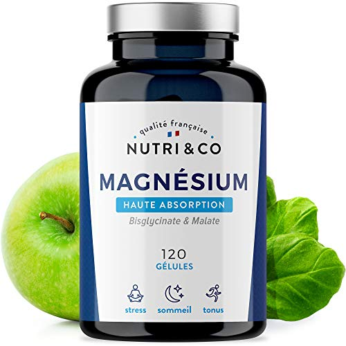 Magnesium Végétal plus Vit B6 B5 B8 | Malate et Bisglycinate de Magnésium | 120 Gélules de 506mg 100% Bio-disponibles et Non Laxatives | Fabriqué en France par Nutri&Co  (1)