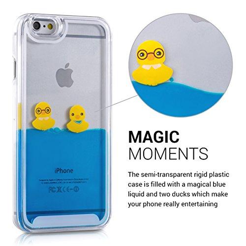 kwmobile Cover Apple iPhone 6 / 6S - custodia rigida con liquido hard case protettiva flowing liquid - back cover trasparente con Design anatre in giallo blu trasparente