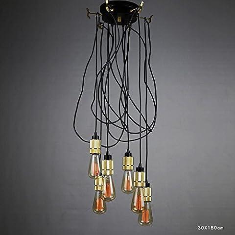 BJVB Bombilla 6 lámparas lámpara lámpara lámpara de techo de Edison redonda cubierta de la lámpara de hierro elevación