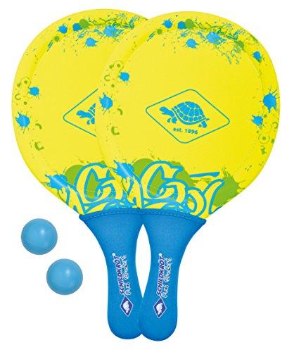 Schildkröt Funsports 2 Schläger, 2 Bälle in Netztasche Beachball Set, Gelb Blau