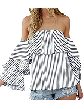 Mujeres blusa camiseta ropa, RETUROM De longitud femenino Encanto manga sudadera Hombro blusa ocasional