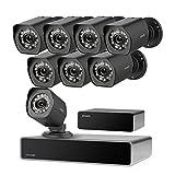 Zmodo CCTV 8 Kanal HDMI NVR 1080P Überwachungssystem 8*Überwachungskamera Set Full HD für Aussen/Innen mit sPoE Repeater, Bewegungsmelder, Wetterfest, Ohne Festplatte, Schwarz