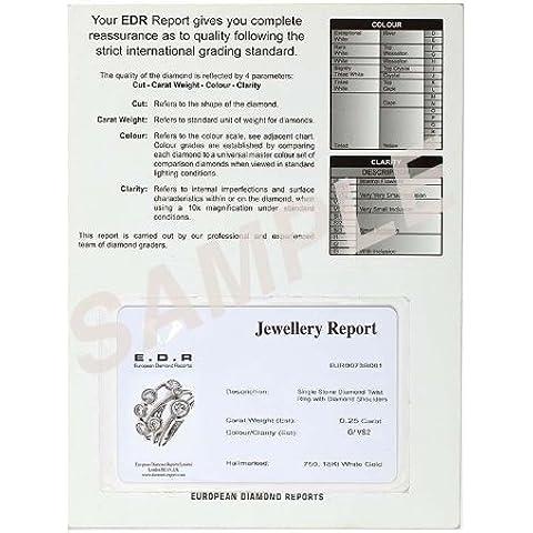 Twinkle - Braccialetto in oro bianco 18 ct, con diamante rotondo certificato 23 ct G/VS2