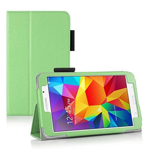 Invero® Premium Hülle Ledertasche umfasst Ständer Feature, Displayschutzfolie und Eingabestift Kugelschreiber für Samsung Galaxy Tab 4 7,0 Zoll SM T230 T231 (Grün / Green)
