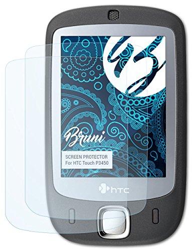 Bruni HTC Touch P3450 Folie - 2 x glasklare Displayschutzfolie Schutzfolie für HTC Touch P3450