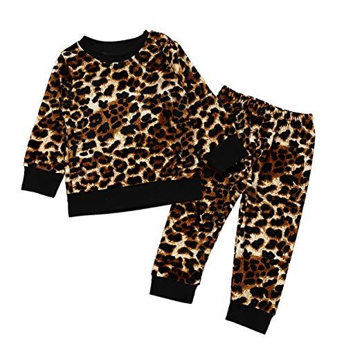 puseky 2 stücke Infant Kleinkind Winter Leopard Kleidung Anzug Baby Langarm-shirt + Hosen Outfits Set (Color : Leopard, Size : 5Y) -