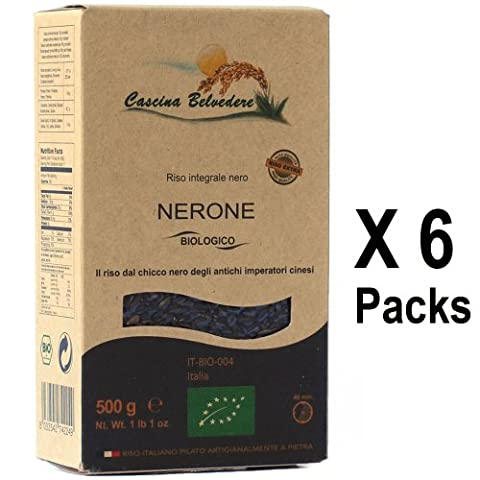 ORGANIC WHOLEGRAIN BLACK RICE by Cascina Belvedere Farm 500g (Pack of 6) - Italian Vegetarian Food Vegan
