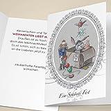 100er Set Edle Unternehmen Weihnachtskarten mit kleinem Esel, Schweinchen und Nußknacker im Weihnachts-Karton, mit ihrem Innentext (Var6) drucken lassen, als Weihnachtsgrüße geschäftlich / Neujahrskarte / Firmen Weihnachtskarte für Kunden, Geschäftspartner, Mitarbeiter: Ein schönes Fest
