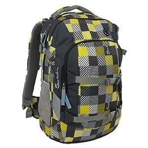 satch Pack Karo gelb grau, ergonomischer Schulrucksack, 30 Liter, Organisationstalent, Gelb