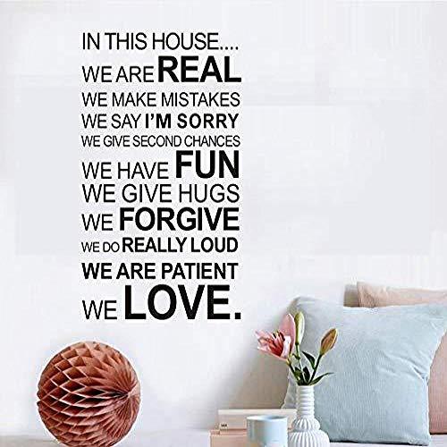 ljmljm Schwarz 58x102cmIn diesem Haus sind wir echte englische Home Decoration Geschnitzte Wandsticker 58x102cm (Mint Grünen Kleid Teens)