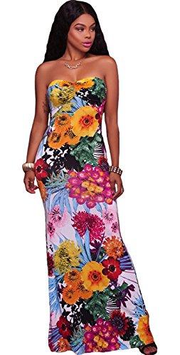 Senza spalline a fiori floreale apertura cut-out spalline sul rétro Long Lungo Lunga Lunghi Maxi Bodycon Aderente Fasciante a colonna a fascia da spiaggia Dress Vestito Abito Bianco