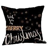 Berrose-Weihnachten Brief Kissenbezug Happy Christmas Kissenbezüge Bettwäsche Sofa Home Decor Zierkissenbezug für aus Super Weicher und Flauschiger