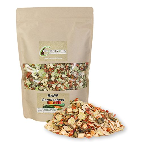 Carnivora BARF Gemüsebeet 500g - BARF Zusatz Nahrungsergänzung für Hunde - 100% natürliche Gemüseflocken (u.A. Karotte, Erbsenflocken,...) - getreidefreies Futter