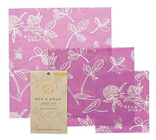 Bee-wasser (Bee's Wrap Wachspapier, Set mit 3Stück, verschiedene Größen, Violett)