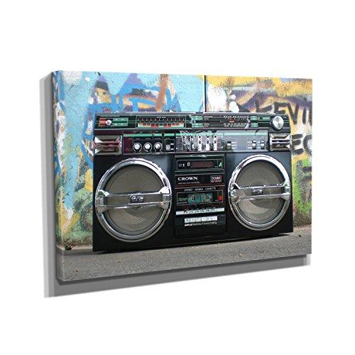Nerdinger Ghettoblaster - Kunstdruck auf Leinwand (75x50 cm) zum Verschönern Ihrer Wohnung. Verschiedene Formate auf Echtholzrahmen. Höchste Qualität.