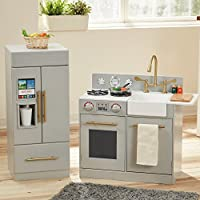 Teamson Kids TD-12302A Urban Adventure Wooden Pretend Play Toy Kitchen for Kids with Fridge, Rotatable Gas Switch, Icemaker & Water Cooler, Grey