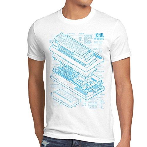 style3 C64 Heimcomputer Blaupause Herren T-Shirt Classic Gamer, Größe:M;Farbe:Weiß