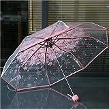 #5: United States : Women's Transparent PVC Clear Cherry Blossom, Flower Mushroom 3 Fold Rain Umbrellas (Galaksy Pink)