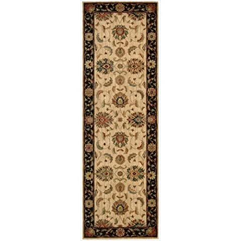Nourison Teppich Mondrian 99446669209–ivblk maschinengefertigter Teppich, elfenbein schwarz, 2ft 6x 8ft