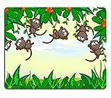 Tony Mauspad Naturkautschuk Mousepad Cartoon Hintergrund Dschungel Der Rahmen der Pflanze Die schönen Affen hingen an Bäumen Afrikanische Tiere