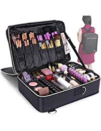 Lifewit Profesional Neceser Mujer Maquillaje Grande 3 Pisos Mochila para Mujer Estuche Bolso de Maquillaje Bolsa de Cosméticos Organizador con Divisor Ajustable Negro