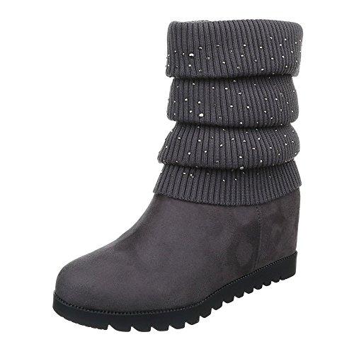 Damen Schuhe Keilabsatz Plateau Reißverschluss Keilstiefel Stiefel Keilabsatz/ Wedge Grau