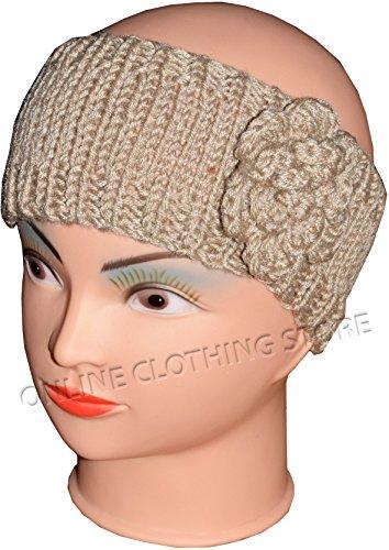 Mesdames hiver cache-oreilles Cache-oreilles en tricot Super Doux handband Chapeau avec fleur Taille unique Beige - Beige