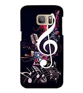 printtech Music Notes Back Case Cover for Samsung Galaxy S7 :: Samsung Galaxy S7 Duos with dual-SIM card slots