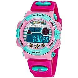 OHSEN Kids Wristwatch Cute Colorful Boys Girls Digital Backlight Watch Waterproof - Rosered