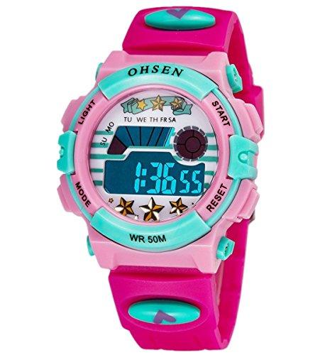 fa4ebc76c6b9 Infantil Niños Niñas Reloj Deportivo Digital Resistente al Agua  Multifunción Led Al aire libre Reloj De