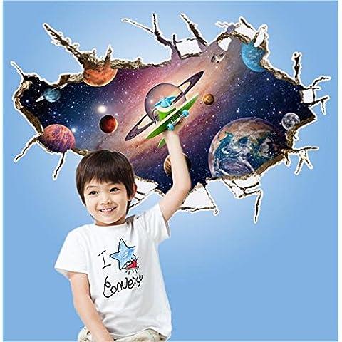 zooarts 3d Outer Space Star Adesivi da Parete Adesivi da Parete Rimovibile Art Home Decor vinile Room bambini Fotomurale
