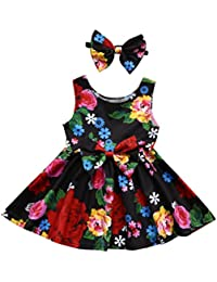Culater® Newborn Baby Girl Vestito Floral Bowknot Princess della Ragazza  del Bambino Battesimo Vestito Infantile 2df340a0785